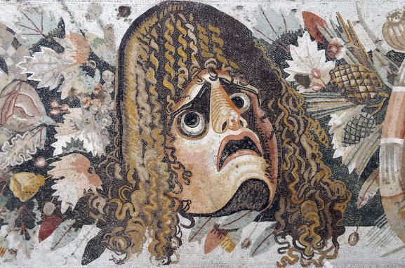 Masque tragique. Détail d\'une mosaïque romaine d\'une maison de Pompéï, Ier siècle avant JC.