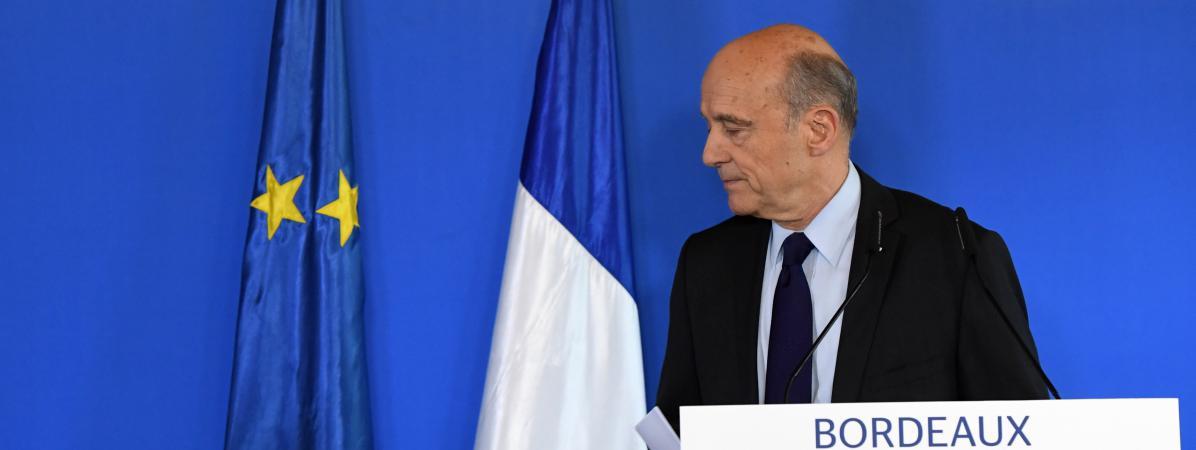 Le maire de Bordeaux, Alain Juppé, lors d\'une conférence d epresse, le 6 mars 2017.