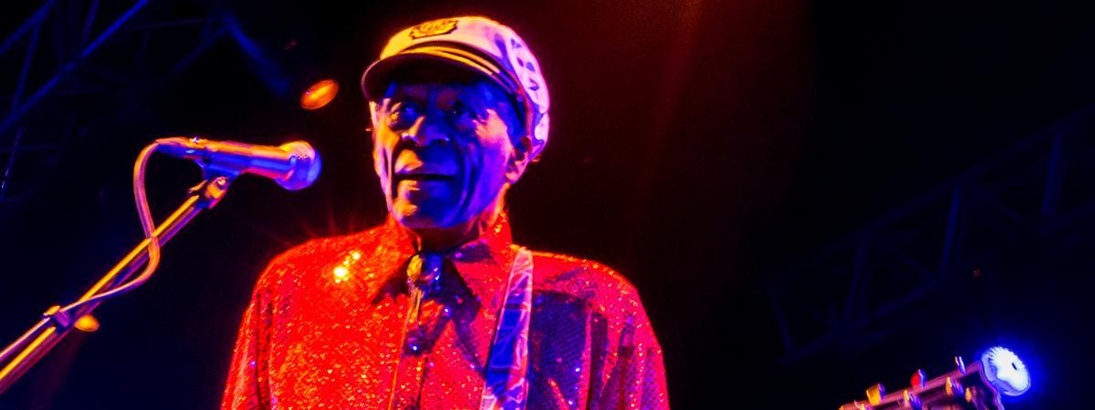 Le guitariste et chanteur Chuck Berry, le 24 février 2013 à Moscou (Russie).