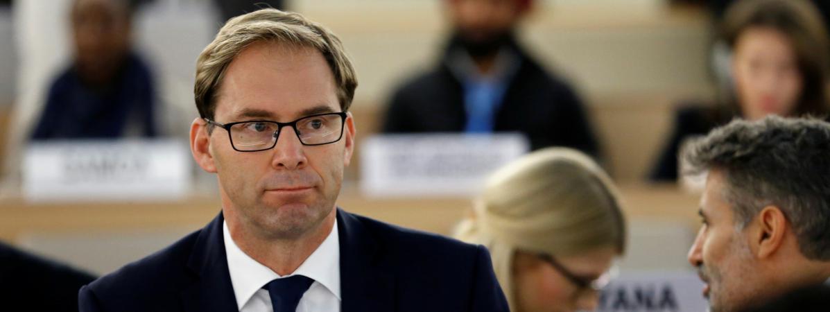 Tobias Ellwood, membre du Parlement britannique, assiste à uneréunion des Nations Unies à Genève (Suisse), le 21 octobre 2016.