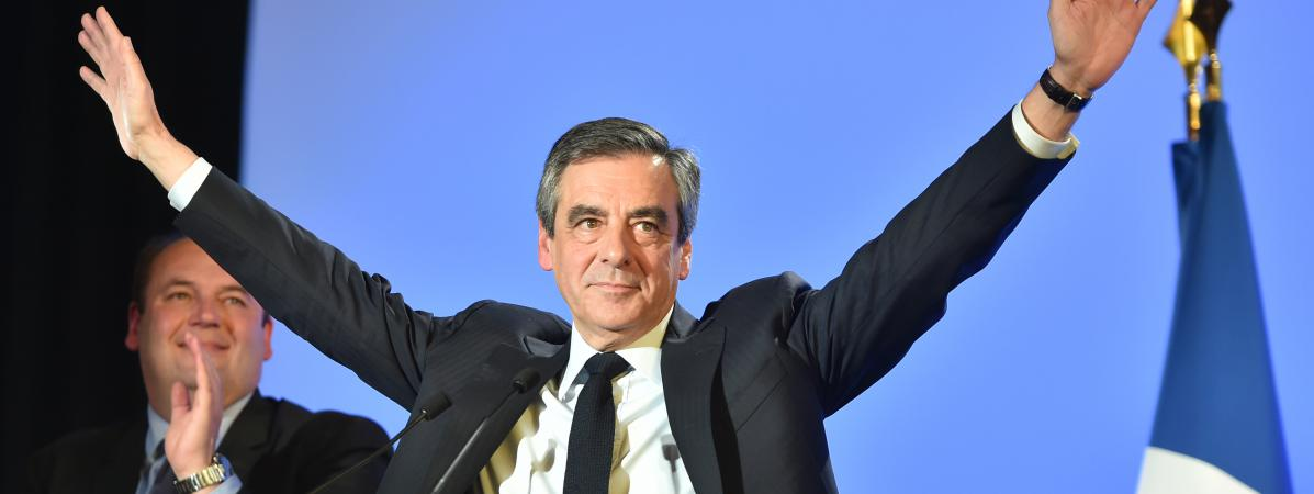 François Fillon, le 18 avril 2017, lors d\'un meeting à Lille (Nord).