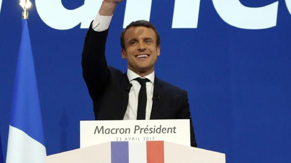 Emmanuel Macron, candidat à l\'élection présidentielle, au soir du premier tour, le 23 avril 2017, à Paris.