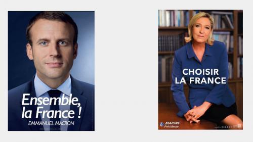 Présidentielle : Emmanuel Macron et Marine Le Pen dévoilent leurs affiches pour le second tour