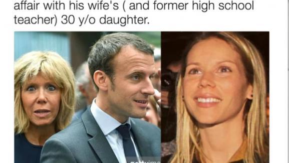 Blessmyliberty, un compte Twitter américain, relaie une rumeur à propos d\'une liaison entre Emmanuel Macron et sa belle-fille.