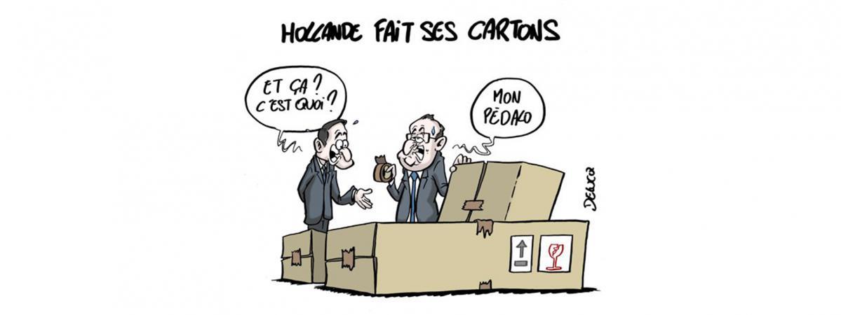 Le départ de François Hollande de l\'Elysée vu par le dessinateur Delucq. Dessin reproduit avec l\'aimable autorisation de son auteur.