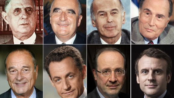 Les huit présidents de la Ve République :de Gaulle (1959-1969), Pompidou (1969-1974), Giscard d\'Estaing (1974-1981), Mitterrand (1981-1995), Chirac (1995-2007), Sarkozy (2007-2012), Hollande (2012-2017) et Macron.