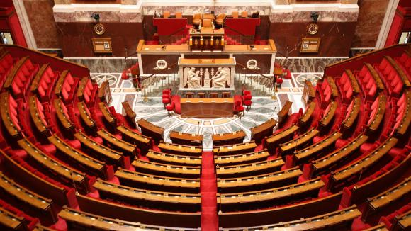 L\'hémicycle de l\'Assemblée nationale, le 24 mars 2017.