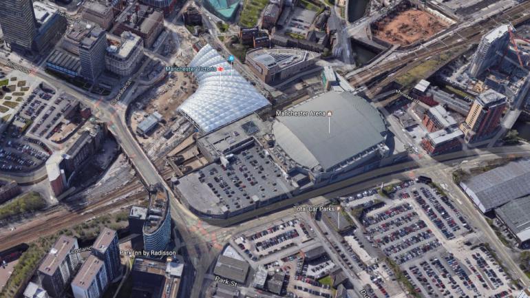 """La salle de concert Manchester Arena, à Manchester,où un \""""incident sérieux\"""" s\'est produit le 22 mai 2017, selon la police britannique."""