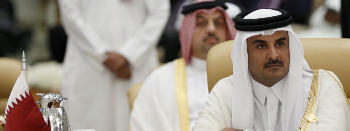 L\'émir du Qatar Tamim Ben Hamad AlThani, le 11 novembre 2015 àRiyad (Arabie saoudite), lors d\'un sommet international.