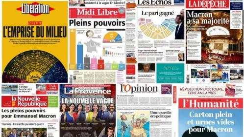 EN IMAGES. Législatives : les unes de la presse après la victoire d'En marche ! au second tour