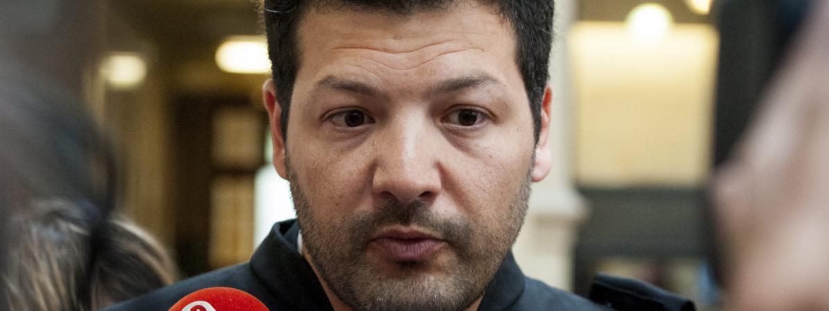 Arié Alimi, l\'avocat de Rémi Fraisse, devant les médias, à Paris, en mai 2016.