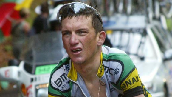 Tyler Hamilton lors de l'étape du Tour de France entre Castelsarrasin et La Mongie, le 16 juillet 2004.