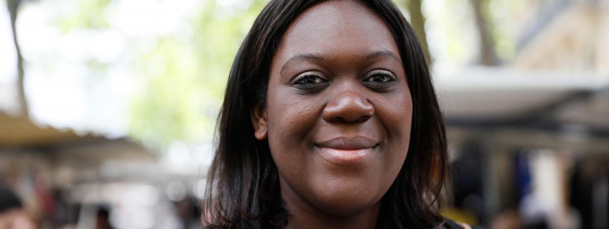 La députée LREM Laetitia Avia lors de la campagne des législatives, le 18 mai 2017 à Paris.