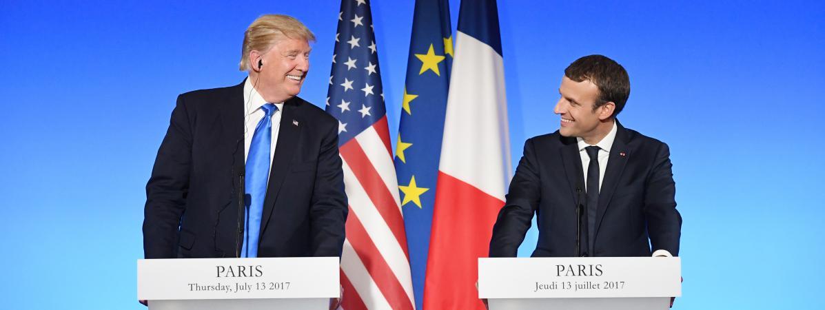 Le président Donald Trump et le président français Emmanuel Macron lors d\'une conférence de presse conjointe à l\'Elysée, le 13 juillet 2017.