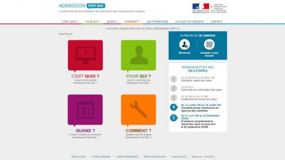 """Le site \""""admission post-bac\""""."""