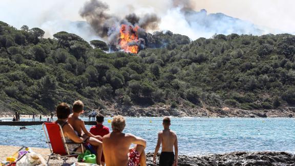 Des plagistes aperçoivent l\'incendie qui ravage la forêt de La Croix-Valmer (Var), le 25 juillet 2017.