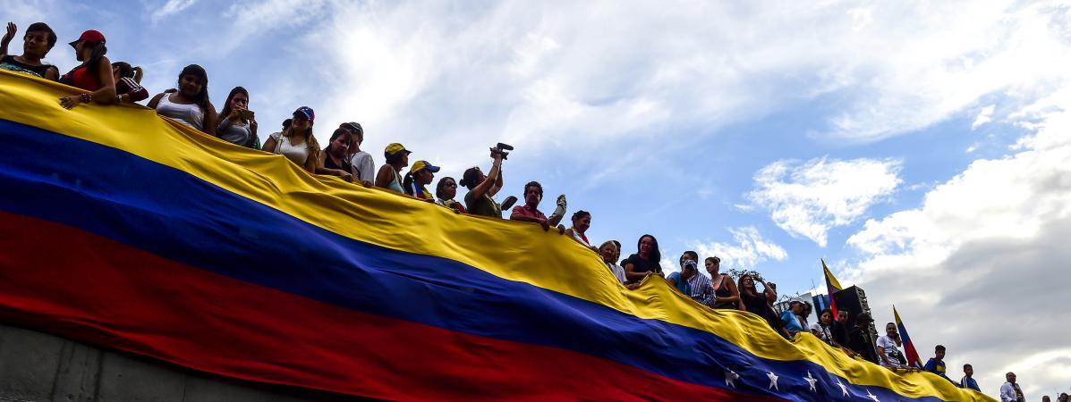 L\'opposition venezueliennne manifeste le 24 juillet 2017, à Caracas.