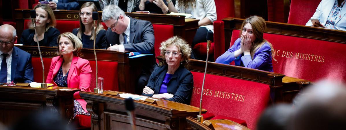 La ministre du Travail, Muriel Pénicaud (au centre), à l\'Assemblée nationale, le 1er août 2017.