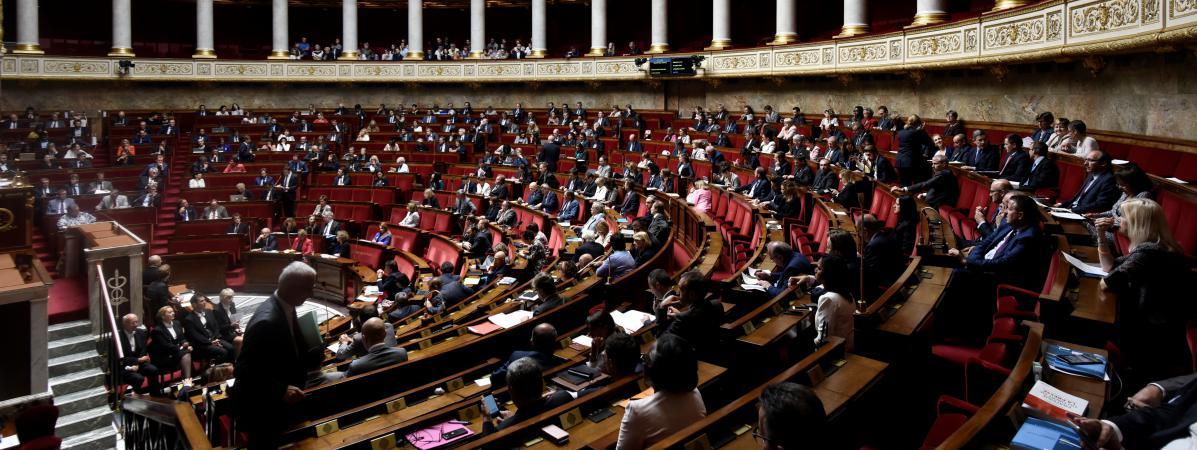 L\'hémicycle de l\'Assemblée nationale, à Paris, le 1er août 2017.