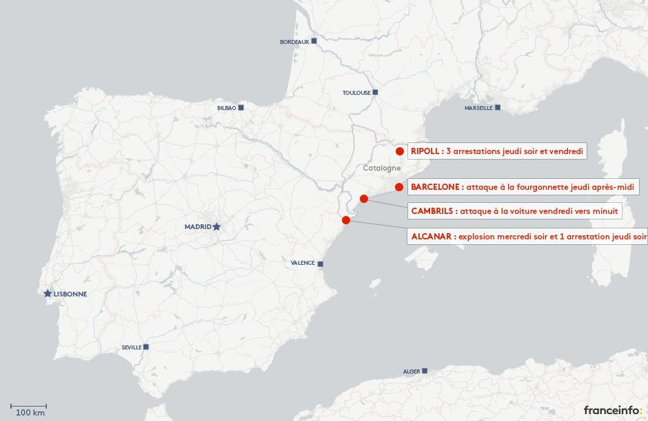 Carte Barcelone Cambrils.Carte Attentats En Catalogne Ou Ont Eu Lieu Les Attaques