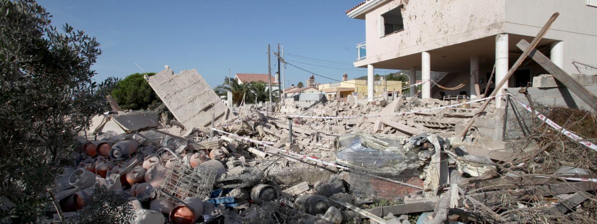 La maison d\'Alcanar (Catalogne, Espagne) soufflée par l\'explosion, le 17 août 2017.