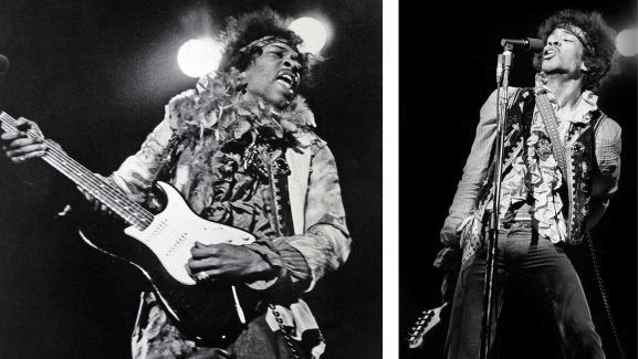 Jimi Hendrix à Monterey le 18 juin 1967, à gauche avec la 1ère stratocaster (noire) du concert, à droite jouant de la guitare dans le dos