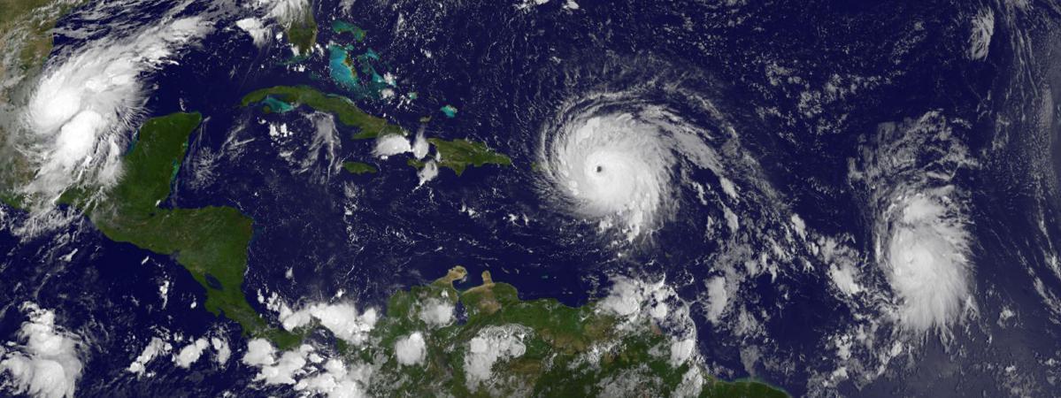 L\'ouragan Irma, photographié le 6 septembre 2017 au dessus des Antilles.