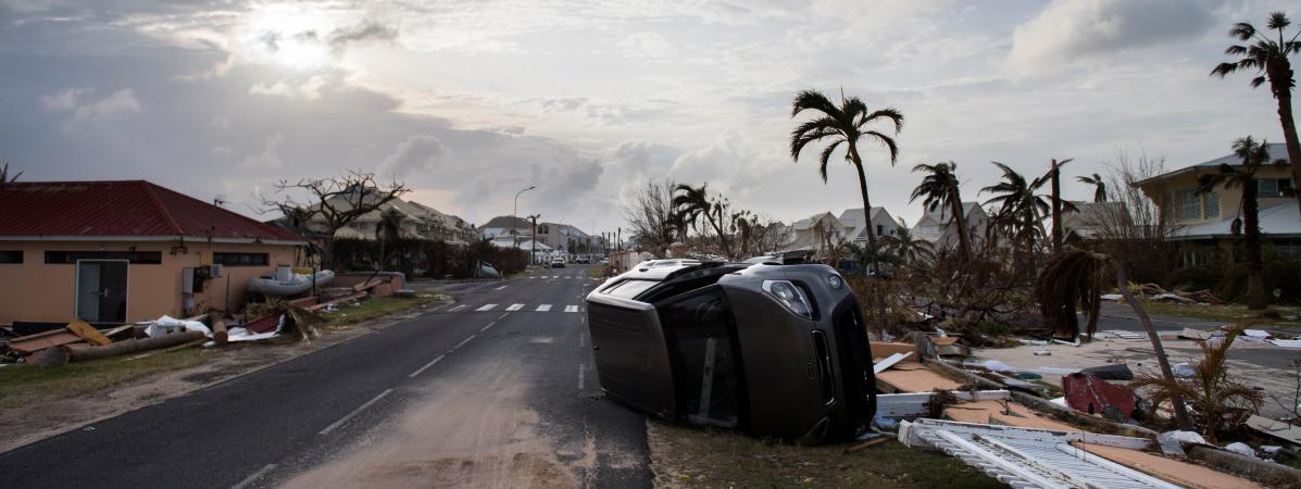 Une rue du Marigot dévastée par l\'ouragan Irma, le 10 septembre 2017, sur l\'île de Saint-Martin.