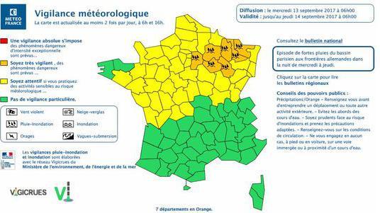 Pluie-inondation : sept départements du Nord-Est en alerte