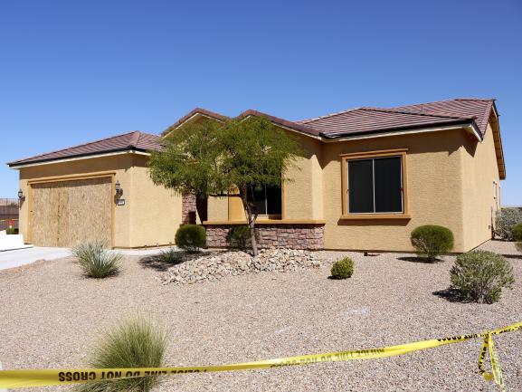 Le domicile de Stephen Paddock après la perquisition des enquêteurs, le 3 octobre 2017, à Mesquite (Nevada, Etats-Unis).