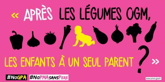 Affiche issue de la campagne anti-PMA de La Manif pour tous.