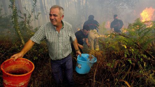 VIDEO. Chaîne humaine, seau d'eau... Les habitants combattent comme ils peuvent les incendies au Portugal et en Espagne