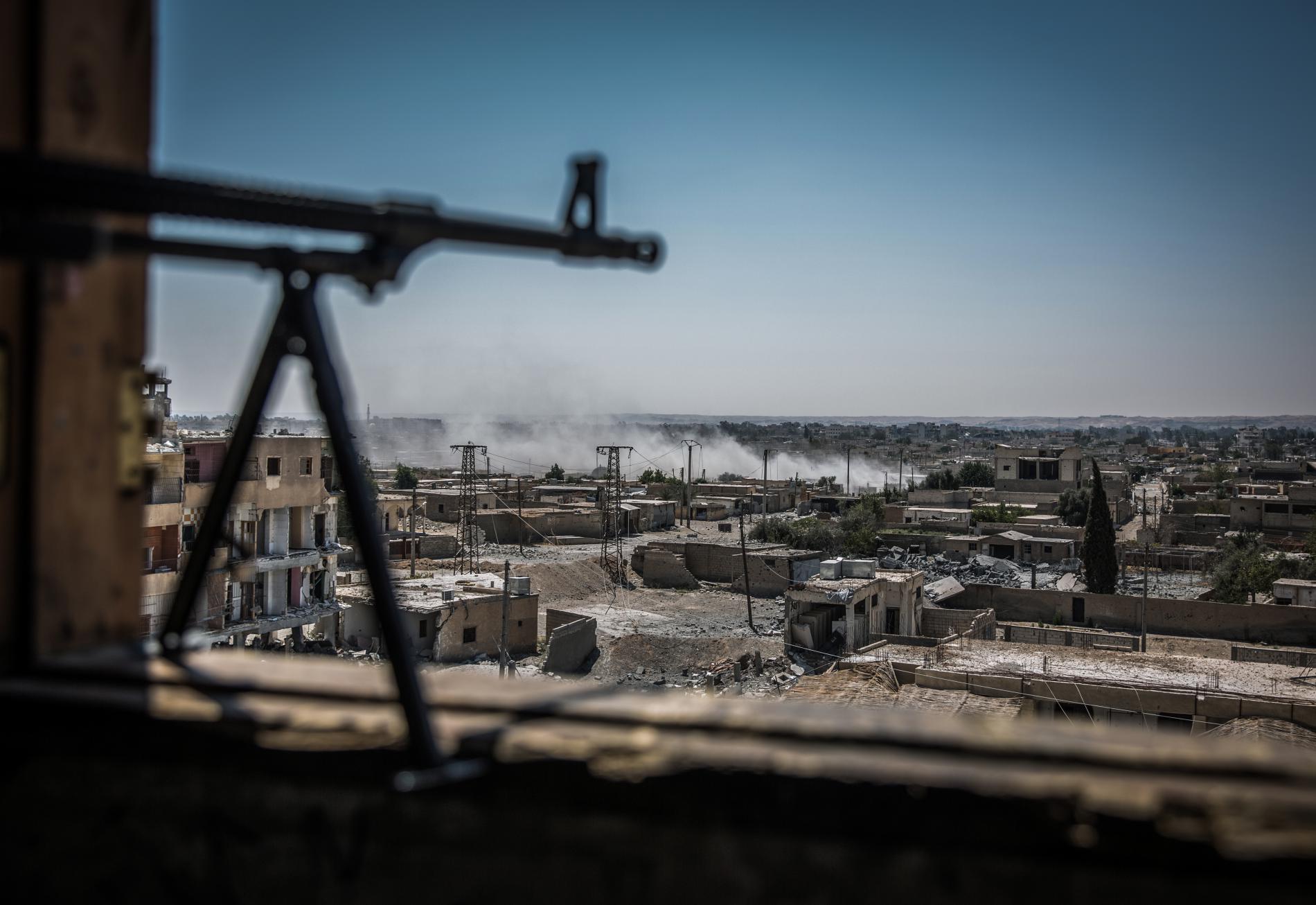 Vue générale du quartier d'Al-Dariya, à Raqqa (Syrie), le 24 juillet 2017.