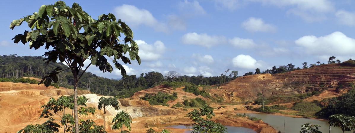 Une vue du site minier aurifère de Yaou à Maripasoula en Guyane, le 17 septembre 2011.