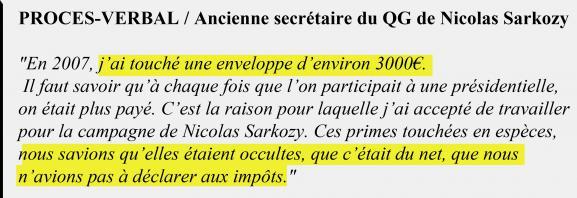 Extrait du procès-verbal de l\'ancienne secrétaire au QG de Nicolas Sarkozy.