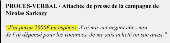 Extrait du procès-verbal de l\'attachée de presse de la campagne de Nicolas Sarkozy en 2007.