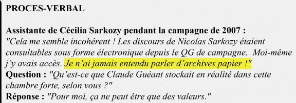 Extrait du procès-verbal de l'assistante de Cécilia Sarkozy.