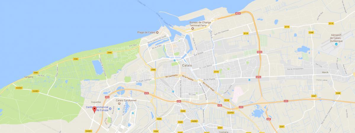 Carte de localisation de l'avenue Charles-de-Gaulle à Calais.