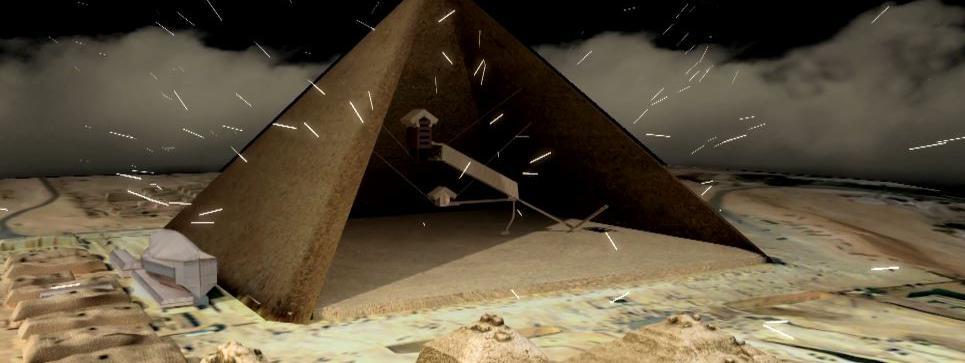 Capture écran de la vidéo de Scan Pyramids, sur la découverte d\'unecavité dans la pyramide de Khéops, jeudi 2 novembre 2017.