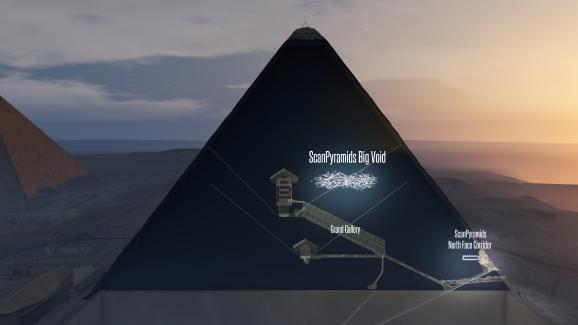 Un schéma en 3D de la découverte de l\'équipe ScanPyramids, jeudi 2 novembre 2017.