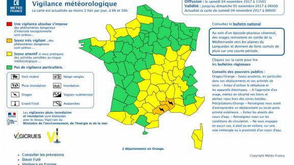 Météo: alerte orange dans deux départements pour