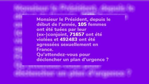 1femmesur2.fr : des militantes féministes interpellent Emmanuel Macron avec un décompte des violences faites aux femmes