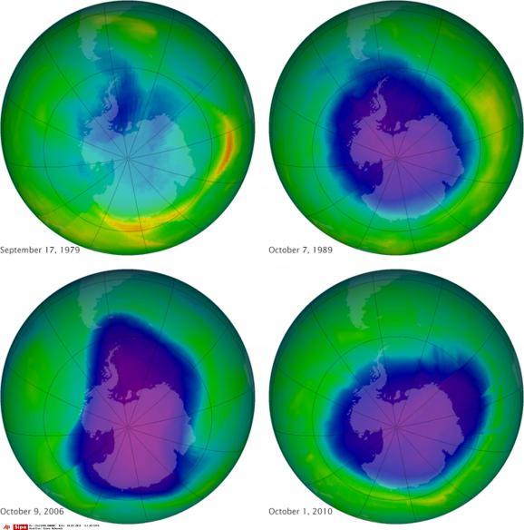 Ces images, fournies par la Nasa, montrent le trou de la couche d'ozone en 1979, 1989, 2006 et 2010.