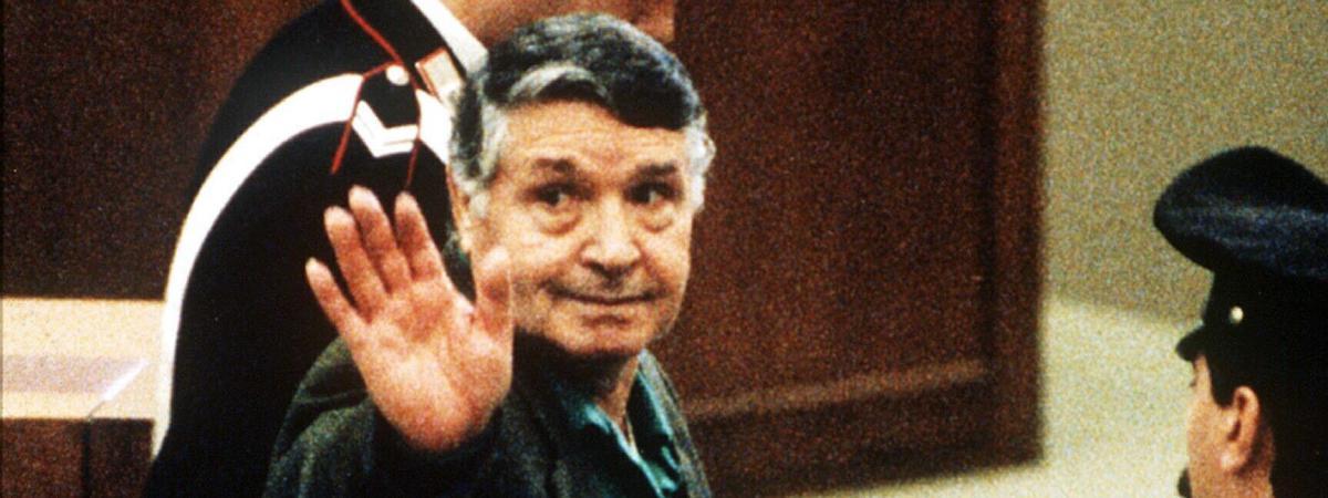 """Salvatore \""""Toto\"""" Riina, le parrain de la mafia sicilienne, à Palerme (Italie) en 1993."""