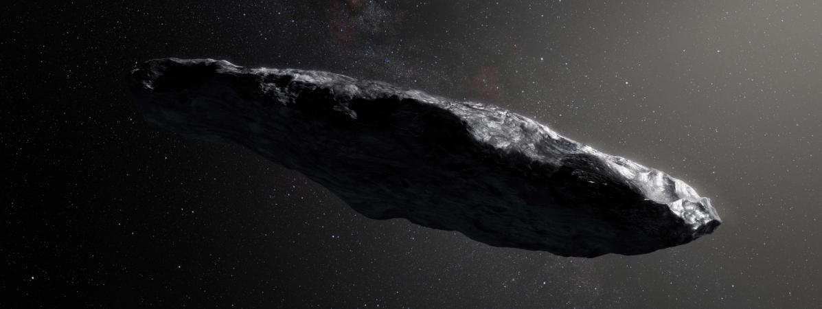 Une vue d\'artiste de l\'astéroïdeOumuamua.