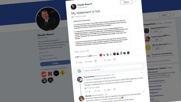 nouvel ordre mondial   La suspension du présentateur américain Charlie Rose après une série d'accusations de harcèlement agite les réseaux sociaux