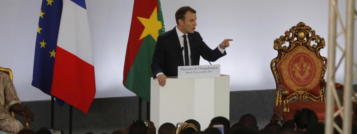 Le chef de l\'Etat, Emmanuel Macron, pendant son discours à Ouagadougou (Burkina Faso), le 28 novembre 2017.