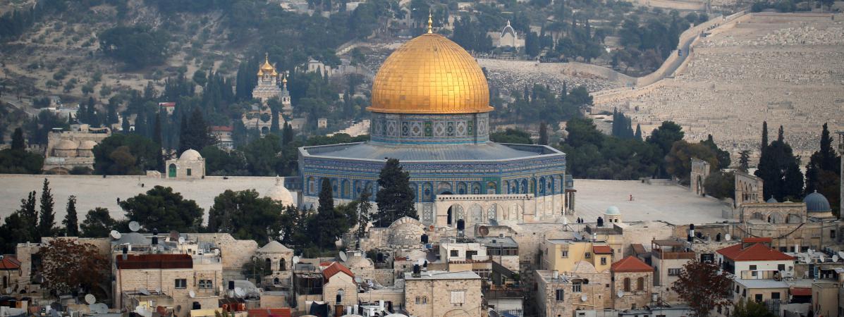 La Vieille ville de Jérusalem, et le dôme du Rocher, troisième plus important lieu saint musulman, le 5 décembre 2017.