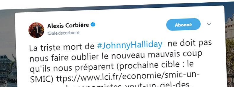 Capture d\'écran du tweet polémique d\'Alexis Corbière, le 6 décembre 2017.