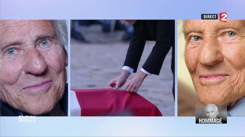 VIDEO. Emmanuel Macron dépose un crayon sur le cercueil de Jean d'Ormesson